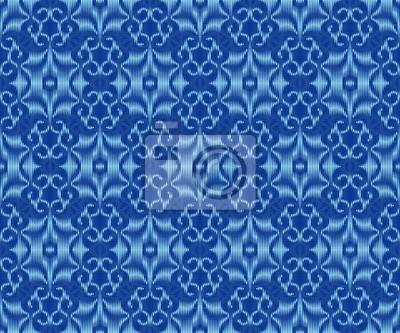 Indigo dyed ikat seamless pattern. Bohemian patterned fabric texture.