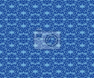 Indigo dyed ikat seamless pattern. Creative ornament textile design.