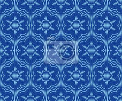 Indigo dyed ikat seamless pattern. Creative patterned fabric texture.