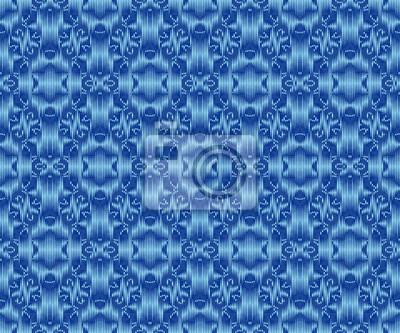 Indigo dyed ikat seamless pattern. Elegant ornament textile design.