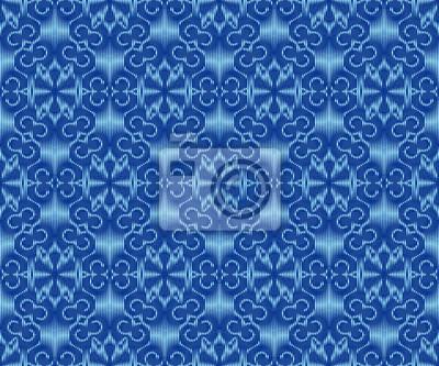 Indigo dyed ikat seamless pattern. Ethnic ornament textile design.