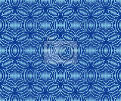 Indigo dyed ikat seamless pattern. Ethnic patterned fabric texture.