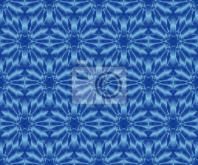 Indigo dyed ikat seamless pattern. Original patterned fabric texture.
