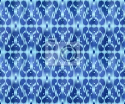 Indigo dyed textile seamless pattern. Ethnic ikat background.