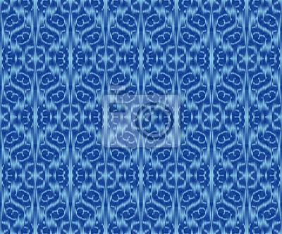 Indigo dyed textile seamless pattern. Ethnic ikat elegant wallpaper.