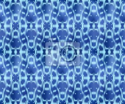 Indigo dyed textile seamless pattern. Ethnic ikat style background.