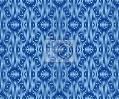 Indigo dyed textile seamless pattern. Ethnic ikat stylish background.