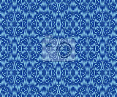 Indigo dyed textile seamless pattern. Original ikat elegant wallpaper.