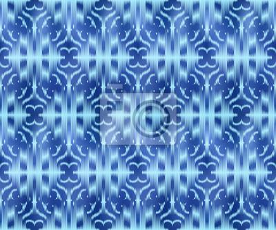 Indigo dyed textile seamless pattern. Original ikat style background.