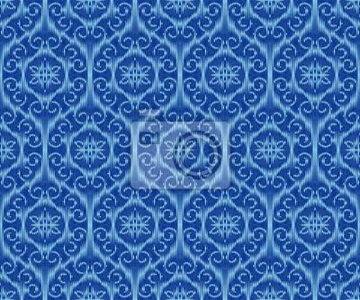Indigo dyed textile seamless pattern. Repeatable ikat elegant background.