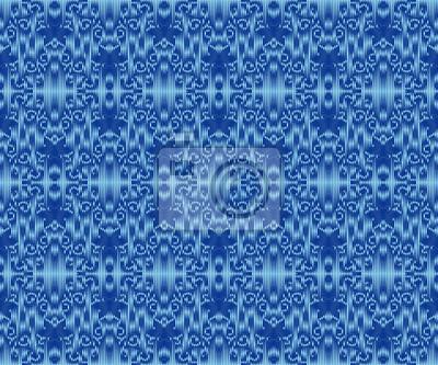 Indigo dyed textile seamless pattern. Repeatable ikat elegant ornament.