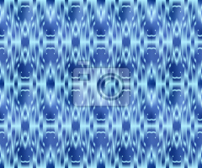 Indigo dyed textile seamless pattern. Repeatable ikat style ornament.