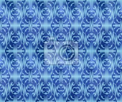 Indigo dyed textile seamless pattern. Repeatable ikat stylish background.