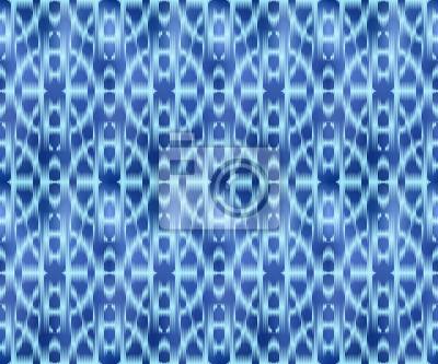 Indigo shibori dyed textile seamless pattern. Bohemian ornament ink background.