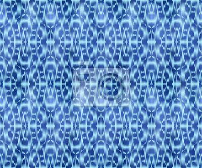 Indigo shibori dyed textile seamless pattern. Ethnic jeans background.