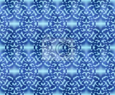 Indigo shibori dyed textile seamless pattern. Original ink repeatable background.