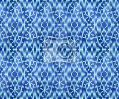 Indigo shibori dyed textile seamless pattern. Original jeans background.