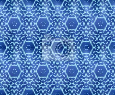 Indigo shibori dyed textile seamless pattern. Original ornament ink repeatable background.