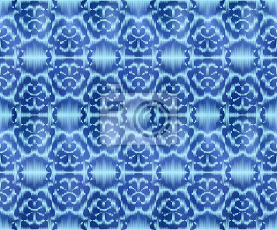 Indigo shibori dyed textile seamless pattern. Original tie repeatable background.