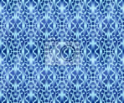 Indigo shibori dyed textile seamless pattern. Repeatable jeans background.