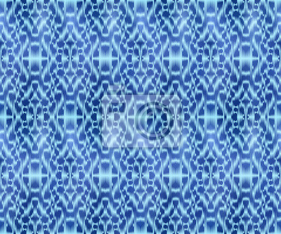 Indigo shibori dyed textile seamless pattern. Repeatable jeans ornament.
