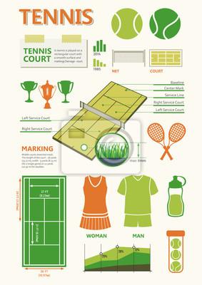 Bild Info-Grafiken in grünen Farben für Tennis-Spiel eingestellt.