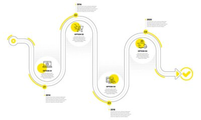 Bild Infographic timeline with icons and 4 steps. Buying process with numbers. Infographics business concept. Online buying plan, presentation timeline, arrow path. Business journey process. Vector