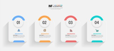 Bild Infographics design template, business concept with 4 steps or options, can be used for workflow layout, diagram, annual report, web design.Creative banner, label vector.