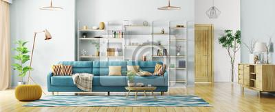 Bild Innenraum der modernen Wiedergabe des Wohnzimmerpanoramas 3d