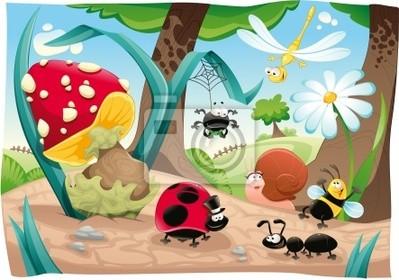 Insekten-Familie auf dem Boden. Funny Cartoon und Vektor-Szene .