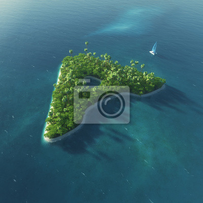 Insel Alphabet. Paradise tropischen Insel in Form von Buchstaben A
