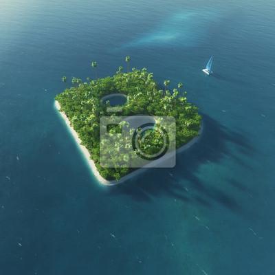Insel Alphabet. Paradise tropischen Insel in Form von Buchstaben B