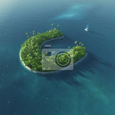 Insel Alphabet. Paradise tropischen Insel in Form von Buchstaben C