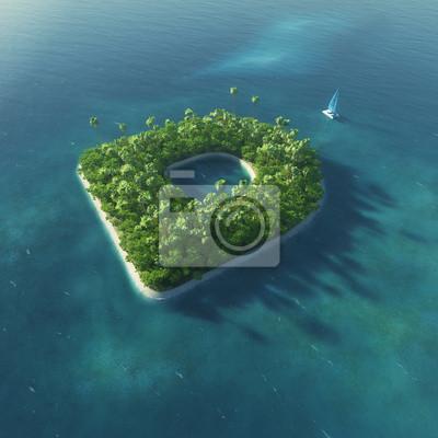 Insel Alphabet. Paradise tropischen Insel in Form von Buchstaben D