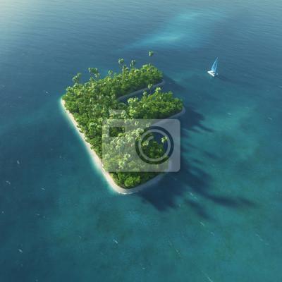 Insel Alphabet. Paradise tropischen Insel in Form von Buchstaben F