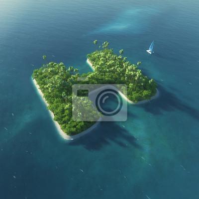 Insel Alphabet. Paradise tropischen Insel in Form von Buchstaben H