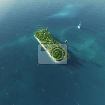 Insel Alphabet. Paradise tropischen Insel in Form von Buchstaben I