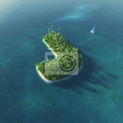 Insel Alphabet. Paradise tropischen Insel in Form von Buchstaben J