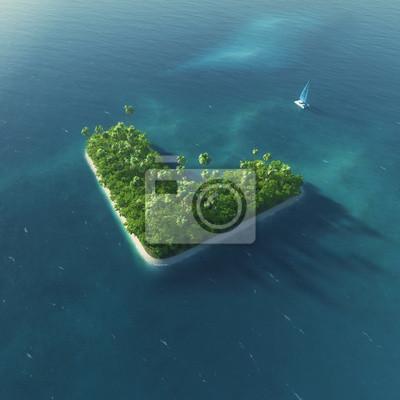 Insel Alphabet. Paradise tropischen Insel in Form von Buchstaben L
