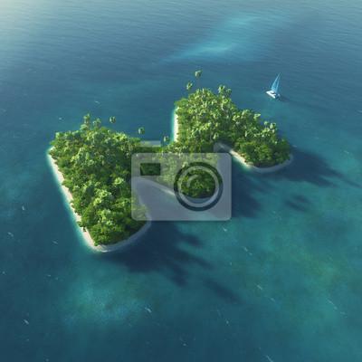 Insel Alphabet. Paradise tropischen Insel in Form von Buchstaben M