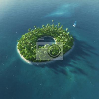 Insel Alphabet. Paradise tropischen Insel in Form von Buchstaben O