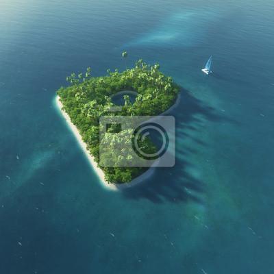 Insel Alphabet. Paradise tropischen Insel in Form von Buchstaben P