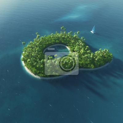 Insel Alphabet. Paradise tropischen Insel in Form von Buchstaben Q