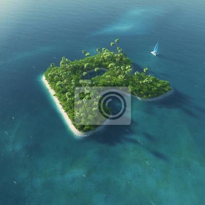 Insel Alphabet. Paradise tropischen Insel in Form von Buchstaben R