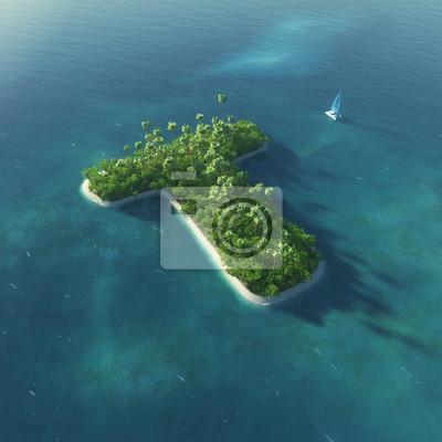 Insel Alphabet. Paradise tropischen Insel in Form von Buchstaben T