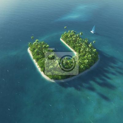Insel Alphabet. Paradise tropischen Insel in Form von Buchstaben U