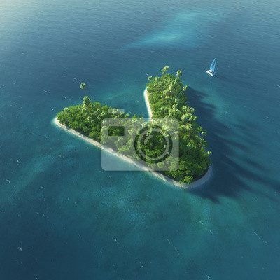 Insel Alphabet. Paradise tropischen Insel in Form von Buchstaben V