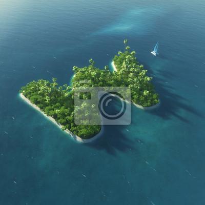Insel Alphabet. Paradise tropischen Insel in Form von Buchstaben W