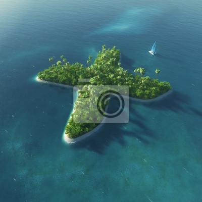 Insel Alphabet. Paradise tropischen Insel in Form von Buchstaben X