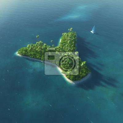 Insel Alphabet. Paradise tropischen Insel in Form von Buchstaben Y